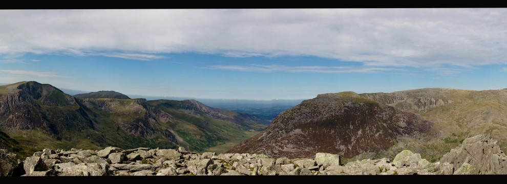 Stunning views from the summit of Tryfan towards Pen Ye Ole Wen, Carneddau, Snowdonia