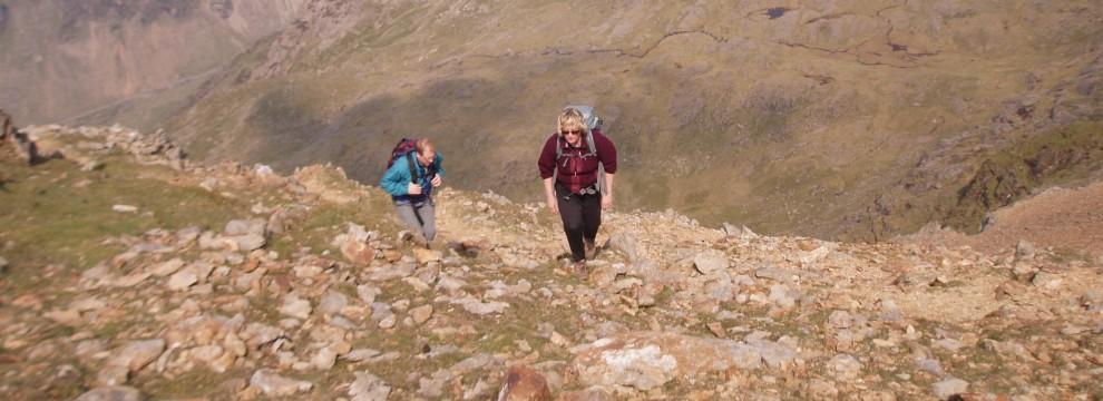 Finally heading for the ridge of Crib y Ddysgl and the summit of Garnedd Ugain