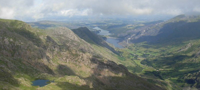 View of the Llanberis Pass and Llyn Padarn in the distance from Crib Goch