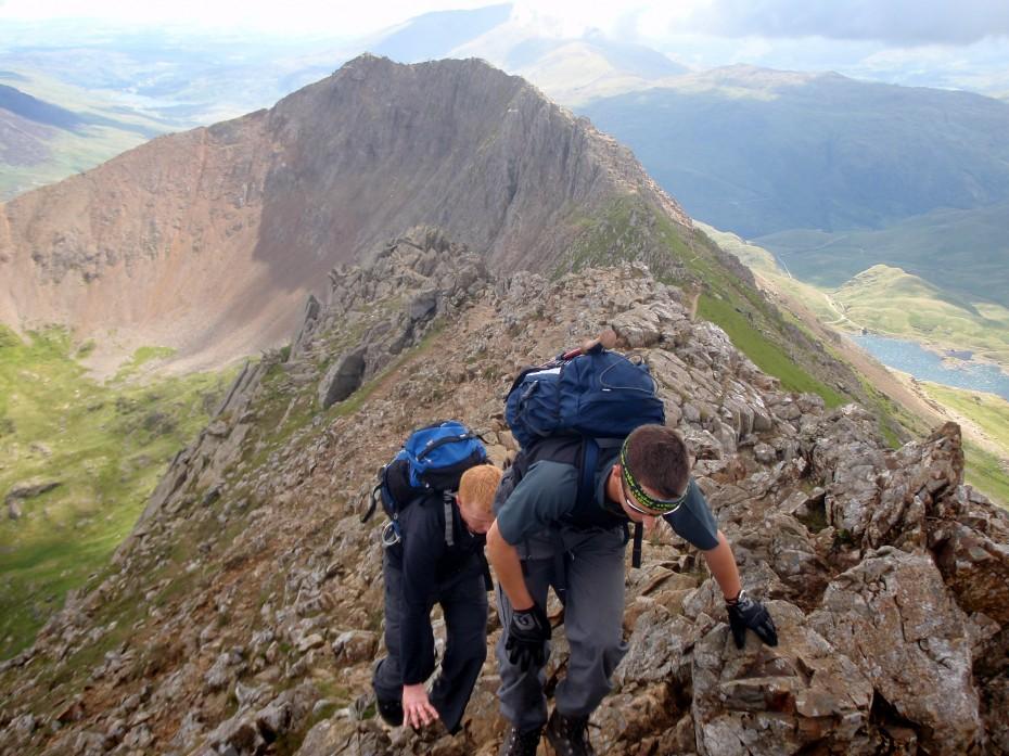 Approaching the summit of Garnedd Ugain (Crib y Ddysgl)