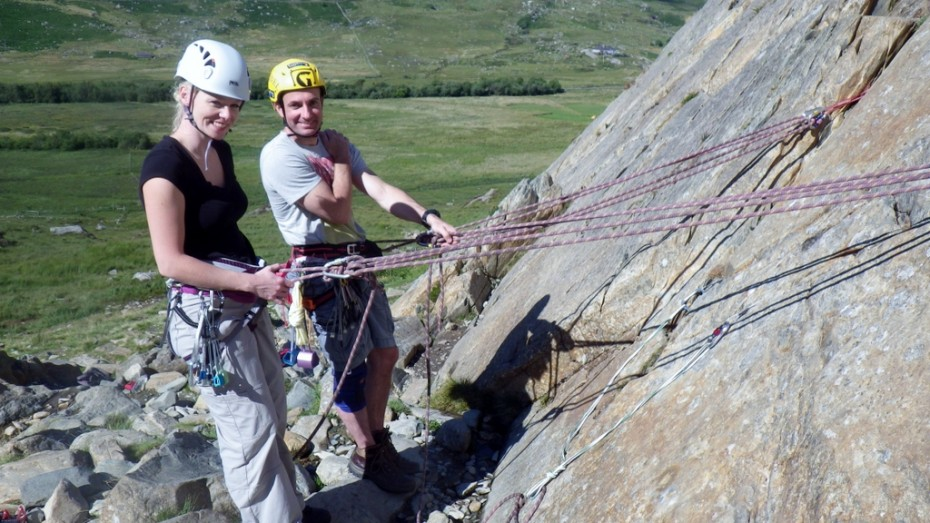 Setting up out of reach anchors on a ropped belay safely on the ground