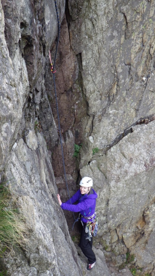 Sarah on the third Pitch of Crackstone Rib looking very relaxed!