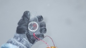 Taking a bearing and walking on it in winter conditions is hard!