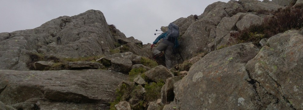 Handling steep ground on the harder walking sections on mountain routes