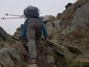 Notice the walking poles put away in order to use both hands on steep ground
