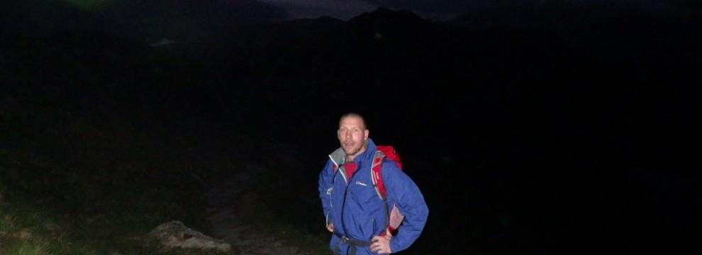 Greg just before the climbing the steep ridge of Crib Goch