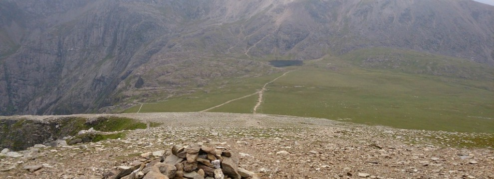 The view from the summit of Y Garn across Snowdonia