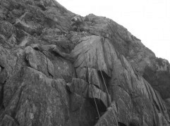 A run out pitch on Western Slabs Dinas Mot Snowdonia