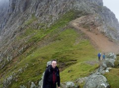 The narrow traverse over on Crib Goch and down to the main Col