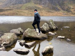 Rocking hopping over Llyn Idwal!
