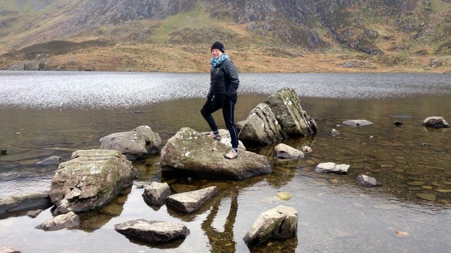 Rocking hopping over Llyn Idwal!
