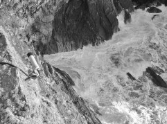 The sea bashing against the sea cliffs on the Anglesey coastline
