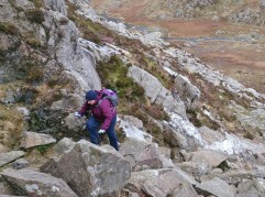 Lindsey starting the east ridge of Pen yr Ole Wen