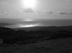 The sun starting to set on the Anglesey Coastal Path