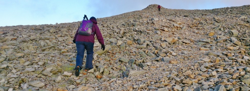 Lindsey pushing to the summit of Carnedd Dafydd
