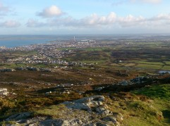 Views across Anglesey from Holyhead Mountain summit looking across to Holyhead Bay