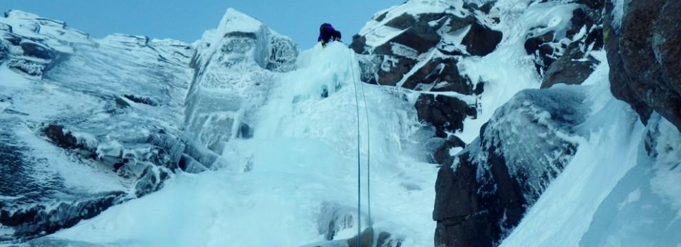 Ice climbing in the Cairngorms. Coire An t-Sneachda on Aladdin