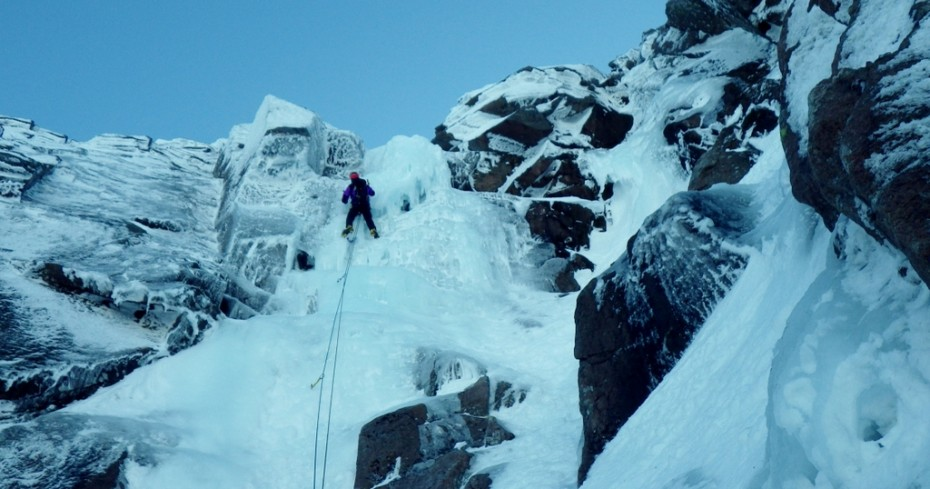 Quite steep ice this year towards the top. Ice climbing in the Cairngorms. Coire An t-Sneachda on Aladdin