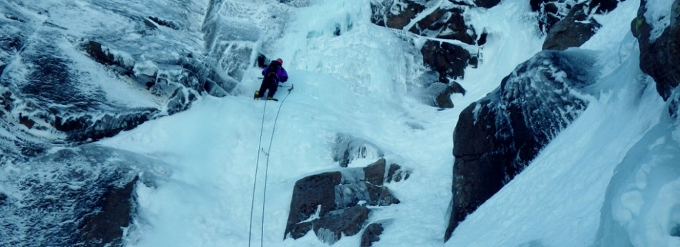 A few good places to place ice screws easily. Ice climbing in the Cairngorms. Coire An t-Sneachda on Aladdin