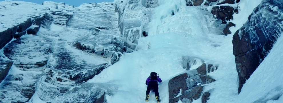 Ice climbing in the Cairngorms. Coire An t-Sneachda on Aladdin