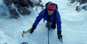 Ice climbing in the Cairngorms.  A good day out in Coire An t-Sneachda above  Aladdin's Buttress starting the ice pitch