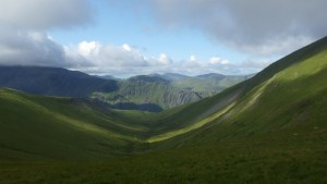 Looking across Snowdonia towards the Snowdon ridge