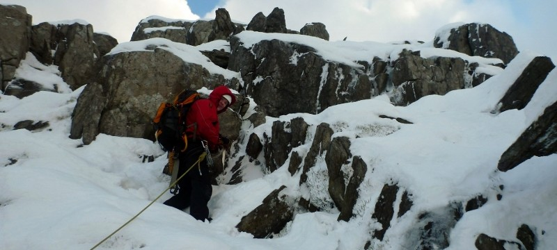 Starting up Sinister Gully on Bristly Ridge
