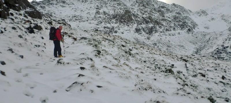 Winter walking in Snowdonia  Winter walking up towards the Glyders