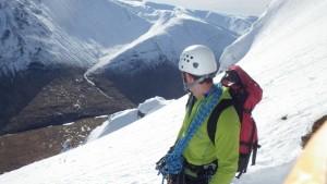 Winter climbing in Glen Coe Looking down into Glen Coe