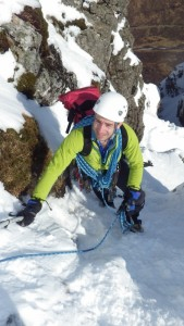 Winter climbing in Scotland The last few pitches of Curved Ridge