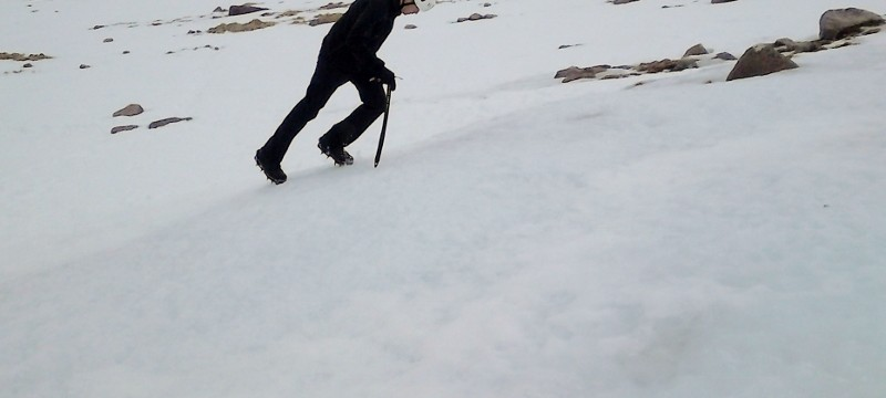Winter skills in Scotland. the use of crampons with front pointing, flat footing and hybrid techniques.