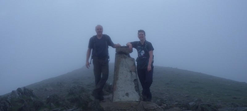 Welsh 3000s 14 peaks Garnedd Ugain summit at dawn