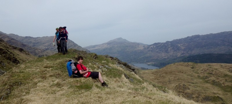 Wild camping in Snowdonia.  time for a rest with big packs