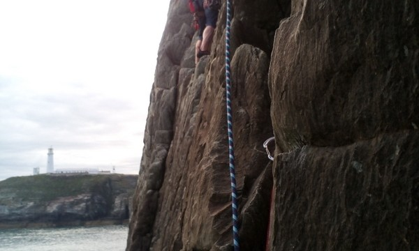 Moving out on to the arete