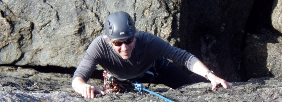 Paddy on the crux