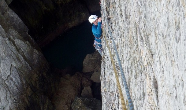 Mike on the traverse in A fantastic view down into Wen Zawn