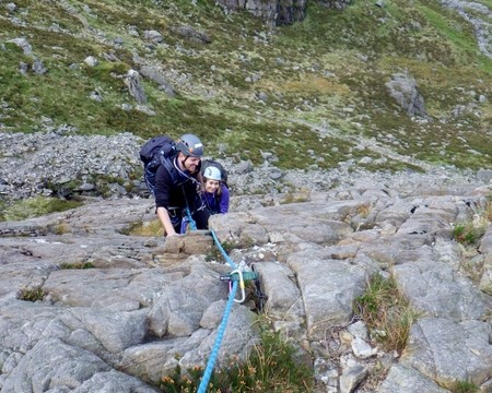 Great scrambling on to the side of Idwal slabs