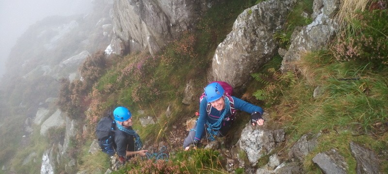 Mike and Karen  Rock scrambling on the North Ridge of Tryfan lower slopes