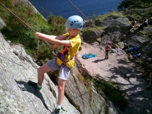 Lowering off the route after climbing it