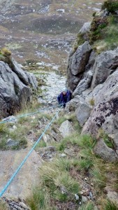 Abseiling down a gully
