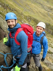 Oli and Tom scrambling in Cwm Idwal