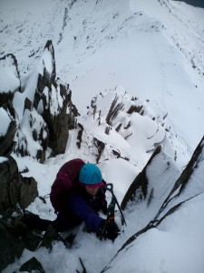 Snowdonia Crib Goch traverse in winter condition. Some pretty steep sections on the lower sections
