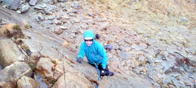 Rope work for rock scrambling in Snowdonia on grade 3 ground Rock scrambling courses with Mountaineering Joe