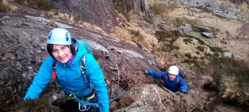 Rock scrambling in Snowdonia on Seniors ridge direct with Mandy and Craig
