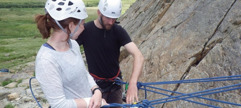 Trad rock climbing belays