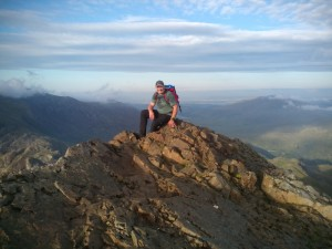 Rock scrambling in Snowdonia Starting the sharp edge of Crib Goch in the beautiful sunshine