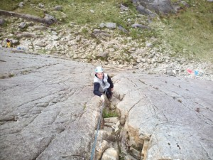 Rock climbing in Snowdonia on Tryfan Bach
