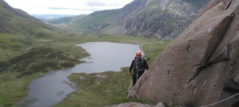 Rock Scrambling techniques in Snowdonia in Idwal valley. Good rope work Scrambling techniques makes life a lot safer and which leads to quicker movement in the mountains.