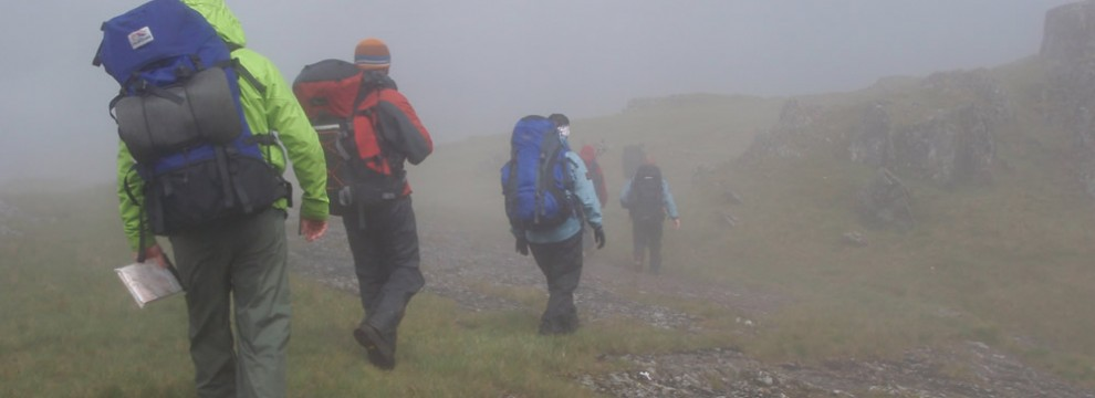 Navigating in poor visability - Lliwedd, Snowdonia, North Wales