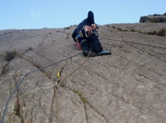 Learning to lead climb on Tryfan Bach